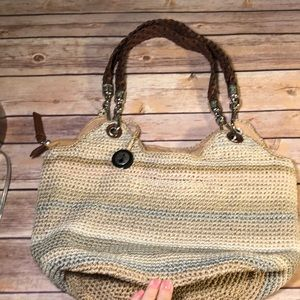 The Sak like new crocheted neutrals bag